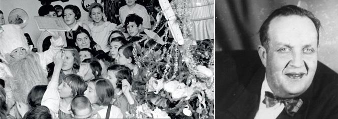 """1937 год. Дед Мороз держит в руке «Курс истории ВКП(б)». И Михаил Гаркави, первый советский Дед Мороз<br>Источники: <a href=""""http://www.statehistory.ru/"""">statehistory.ru</a> и <a href=""""http://www.kino-teatr.ru/"""">kino-teatr.ru</a>. Strana.Ru"""