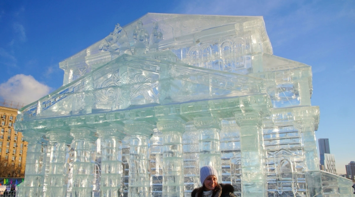 Выставка ледяных скульптур на поклонной